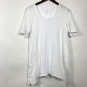 J Jill Womens Sz Medium Petite White Tunic Blouse